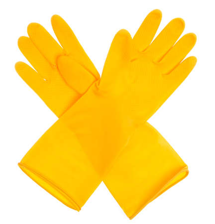 Yellow plastic gloves isolated on white background