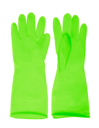 Green plastic gloves isolated on white background