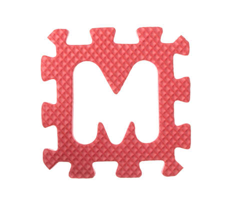 alphabet M made from EVA foam isolated on white background