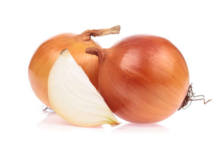 slice onion isolated on white background