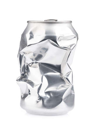destroy unhealthy aluminum can isolated on white background Foto de archivo