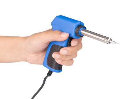 hand holding Gun electric solder for soldering electronic work isolated on a white background.