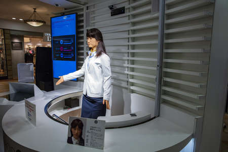 Tokyo, JAPAN - October 20, 2016: Junko Chihira Toshiba android robot Japan in Aqua City Odaiba, a shopping center on Tokyos waterfront Editorial