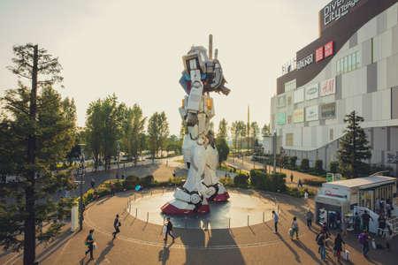 JAPAN - October 20, 2016: Mobile suit Gundam RG 1/1 RX-78-2 Ver. GFT At the main entrance of Diver City Tokyo Plaza