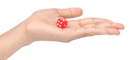 hand holding colored dice isolated on white background
