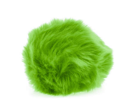 Green Fur ball isolated on white background