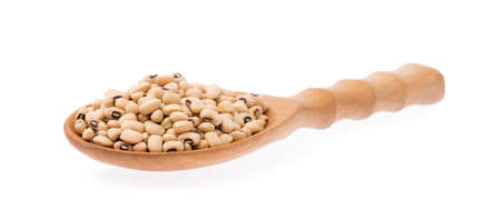 ladle of Soy beans isolated on white background