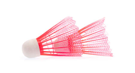 red Plastic Badminton shuttlecock isolated on white background Imagens