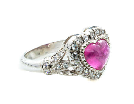 pink Ruby Ring on white background Stock fotó