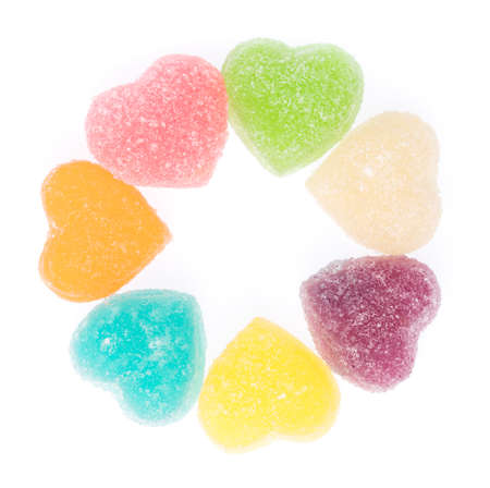 Colorful heart shape jellys isolated on white background 版權商用圖片