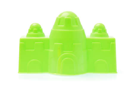 plasstic Castle of beach toys isolated on white background Stock Photo