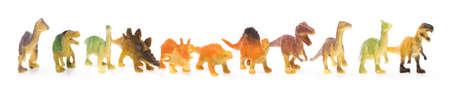 set of plastic dinosaur toy isolated on white background