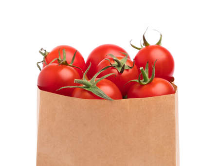 bag paper of tomato isolated on white background
