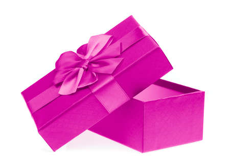 Pink gift box isolated on white background Stock Photo