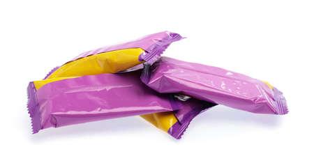 Snackpaket lokalisiert auf weißem Hintergrund Standard-Bild