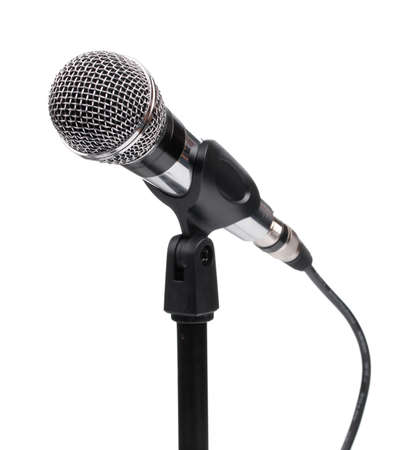 Silver ball head microphone and stand isolated on a white background