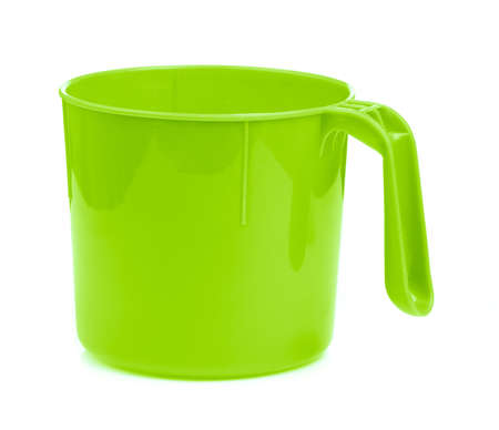 green plastic bowl isolated on white background