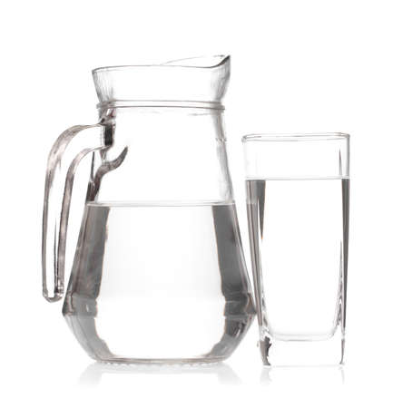 glass with jug of water isolated on white background