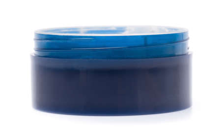 blue plastic container for makeup isolated on white background