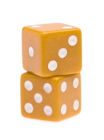 plastic dice isolated on white background.