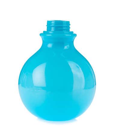 Blue shape circular plastic bottles isolated on white background Stock Photo