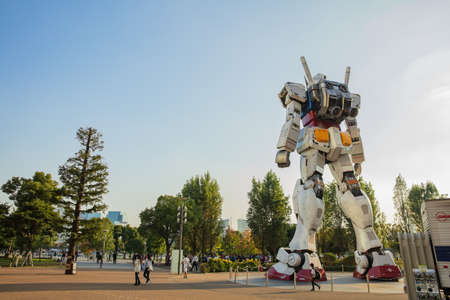 JAPAN - October 20, 2016: Mobile suit Gundam RG 11 RX-78-2 Ver. GFT At the main entrance of Diver City Tokyo Plaza Editorial