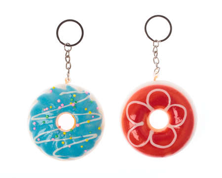 Donuts keychain with rings isolated on white background
