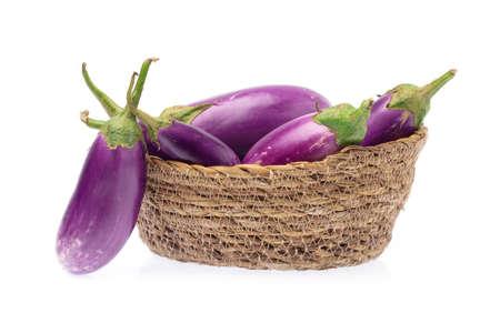 basket of eggplant isolated on white background