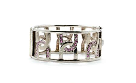 Beautiful of bracelet inlaid with gemstones isolated on white background Stock Photo