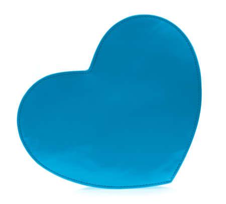 blue women bag heart shaped on white background