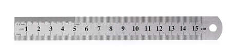 Metal fifteen centimeters ruler isolated on white background