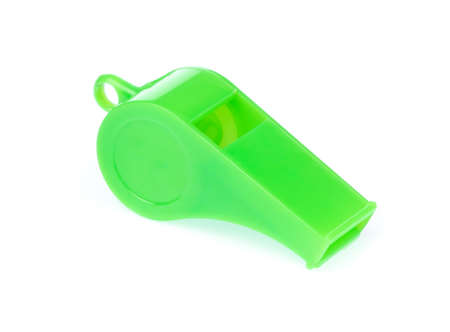green blue whistle isolated on white background Stock Photo