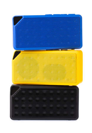 Mini yellow blue and black speaker Isolated on white background