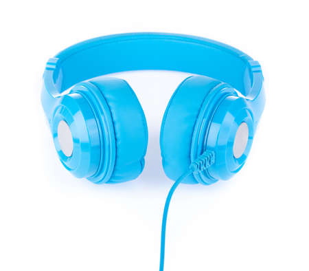 Blue Headphones Isolated on White Background Stock Photo
