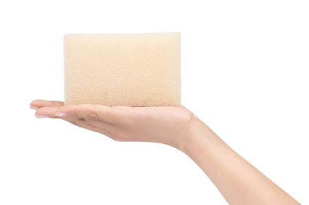 hand holding sponge for cleaning kitchen isolated on white background
