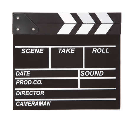 clapper board for making video cinema in studio isolated on a white background. Stok Fotoğraf
