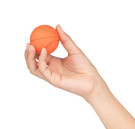 hand holding basketball isolated on white background