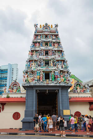 Singapore - Feb 18,2017: Sri Mariamman Hindu temple at Chinatown, Singapore Editorial