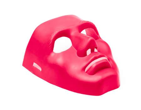 Máscaras rojas aisladas sobre fondo blanco Foto de archivo