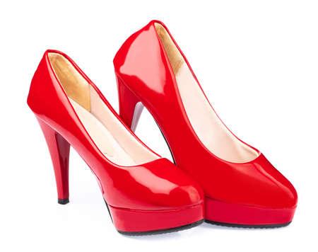 Czerwone buty na białym tle