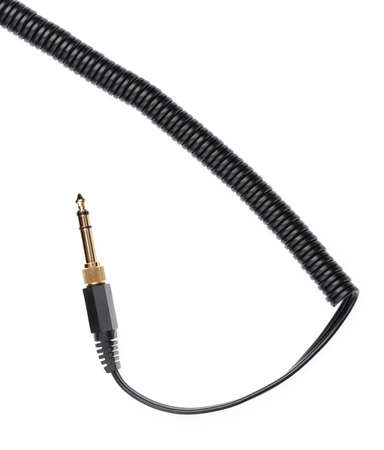 Audio jack with cable isolated on white background.