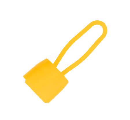Yellow Plastic lock for mesh sack isolated on white background. Archivio Fotografico