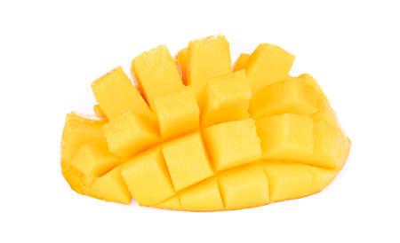 cubes and slices mango isolated on white background