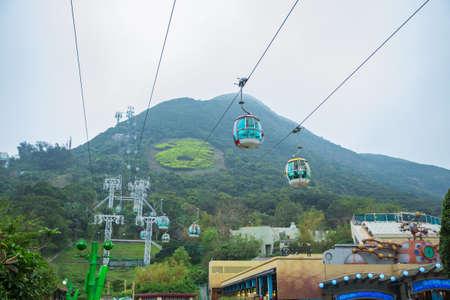 Hong Kong - March 18, 2016:Cable car of Ocean Park Animal theme park