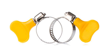 Metal band hose clamp isolated on a white background. Imagens
