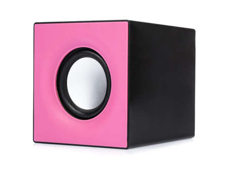 Pink Small speakers isolated on a white background 版權商用圖片