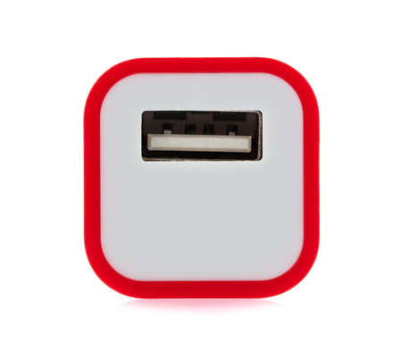 Red of USB power plug adaptor isolated on white background