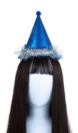 Blue of party hat on mannequin head isolated on white background