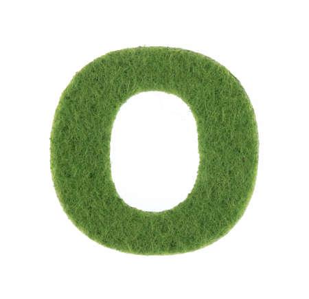Alphabet O is made of felt isolated on white background.