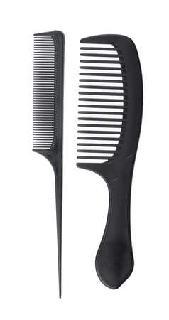 Black hair comb isolated on white background